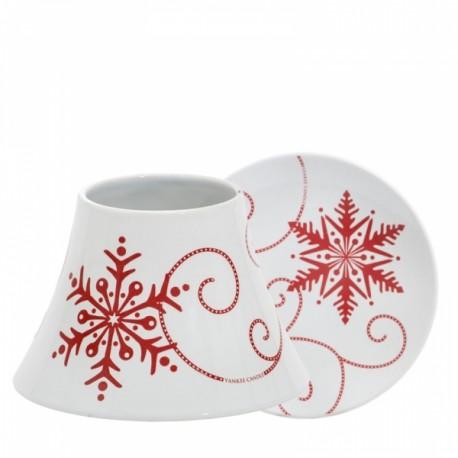 Yankee Candle Paralume Grande e Piattino Grande Snowflake Ceramic