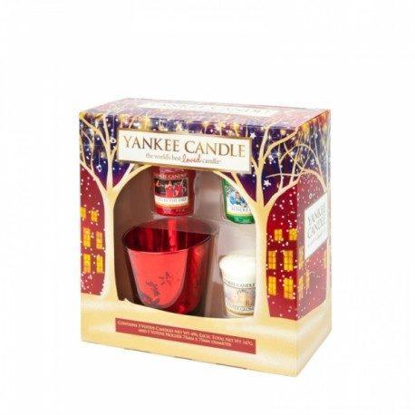 Yankee Candle Set Christmas 3 Votivi e 1 Bicchierino Porta Votivo